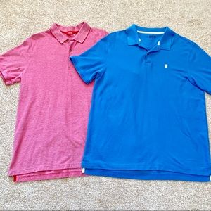 IZOD Lot of 2 Men XL Red & Blue Polo Shirts